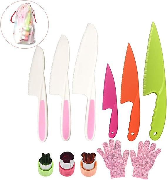 Pocomoco Kids Kitchen Knife Set Children Safe Cooking Plastic Knives Set with Cut-resistant Gloves (Ages 6-12)