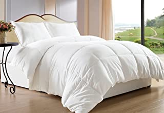 maiija Deluxe Comfy Goose Down Alternative Box Stitch Comforter with 2 Pillow Cases White (Full/Queen 88X88)