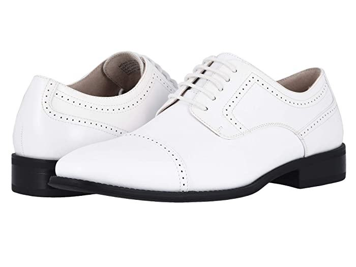 1920s Style Mens Shoes | Peaky Blinders Boots Stacy Adams Waltham Cap Toe Oxford White Mens Shoes $69.95 AT vintagedancer.com