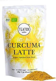 Teatox - Curcuma para deliciosa leche dorada, curcuma en polvo para leche dorada, especias biodegradables con jengibre, canela y cardamón para curcuma Latte y té,