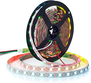 BTF-LIGHTING WS2812B ECO RGB Alloy Wires 5050SMD Individual Addressable 16.4FT 60Pixel/m 300Pixels Flexible White PCB Full Color LED Pixel Strip Dream Color IP30 Non-Waterproof DIY Project Only DC5V
