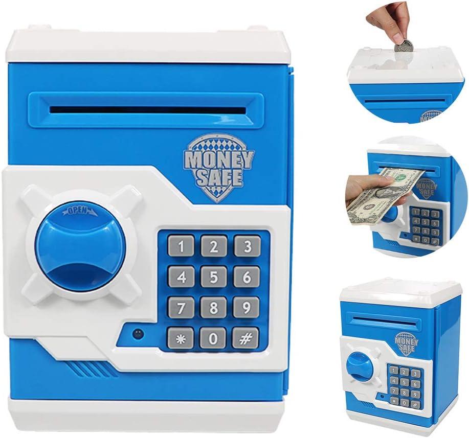 Brekya Mini ATM Piggy Bank Security Machine Best Gift for Kids,Electronic Code Piggy Bank Money Counter Safe Box Coin Bank for Boys Girls Password Lock Blue