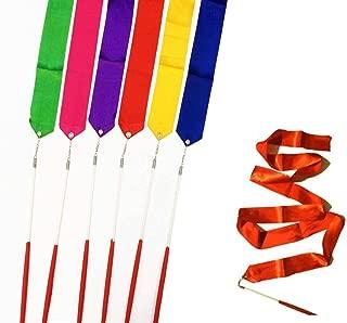 DoTebpa 6Pcs 39Inch Gymnastics Dance Ribbon Rhythmic Color Ribbon with Stick Dance Streamers for Girls Kids