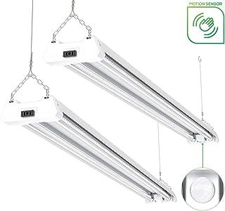 Sunco Lighting 2 Pack - Motion Sensor, Energy Star, ETL 4ft 40W LED Utility Shop Light 4000lm 260W Equivalent, Double Integrated, 5000K Daylight Ceiling/Garage/Basement/Workshop, Linkable, Frosted