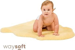 Baby Sheepskin Rug by WaySoft in a Gift Bag, New Zealand Soft Fur Rug, Hypoallergenic and Oeko-Tex Standard 100 Certified Nursery Fluffy Rug, 2ft x 3ft