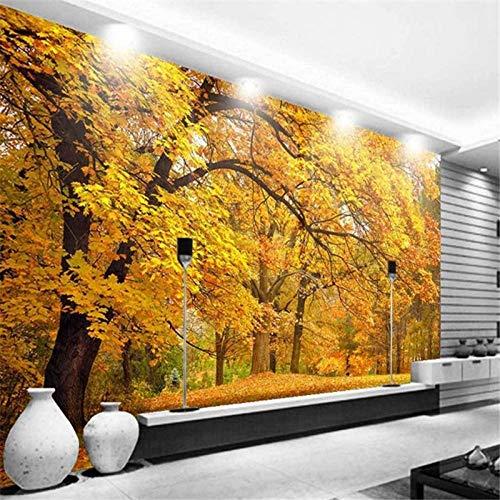 ZJfong gepersonaliseerd 3D-fotobehang, motief: herfstbos, bank, woonkamer, tv, achtergrond, wanddecoratie 420x260cm