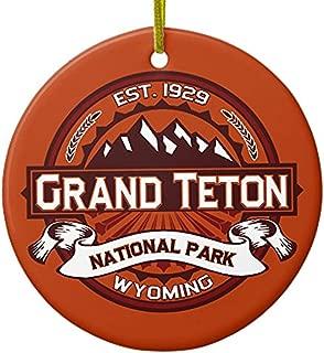 Cheyan Grand Teton Crimson Ceramic Ornament Circle