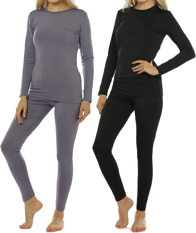 2 Sets Womens Thermal Underwear Set Long John Fleece Lined Top Bottom Base Layer