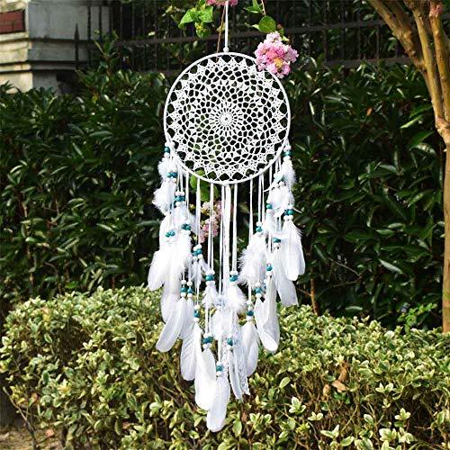 EasyBravo großer Traumfänger im Boho-Stil, mit weißer Feder und blauen Perlen, Makramee, Wandbehang für Vintage-Hochzeit oder zur Heimdekoration, 25cm großer Kreis, 70cm lang