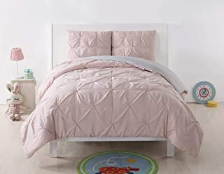 My World LHK-DUVETSET Reversible Twin XL Duvet Cover and Shams Set, Blush/Silver Gr