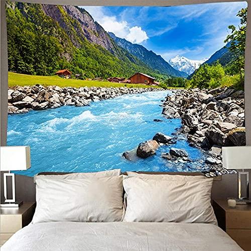 KHKJ Gran montaña Bosque Lago Revestimiento de Pared Tapiz Impreso psicodélico Colgante de Pared Toalla de Playa Manta Fina A4 200x180cm