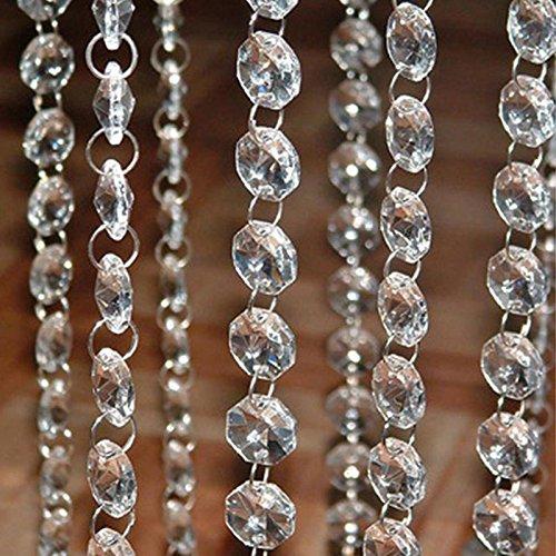 lzn 10 x 1m Perlenvorhang,Kristall Kette Türvorhang Fadengardine Pailettenvorhang Fadenvorhang Raumteiler Perlenvorhang klar durchsichtig Hochzeit Deko