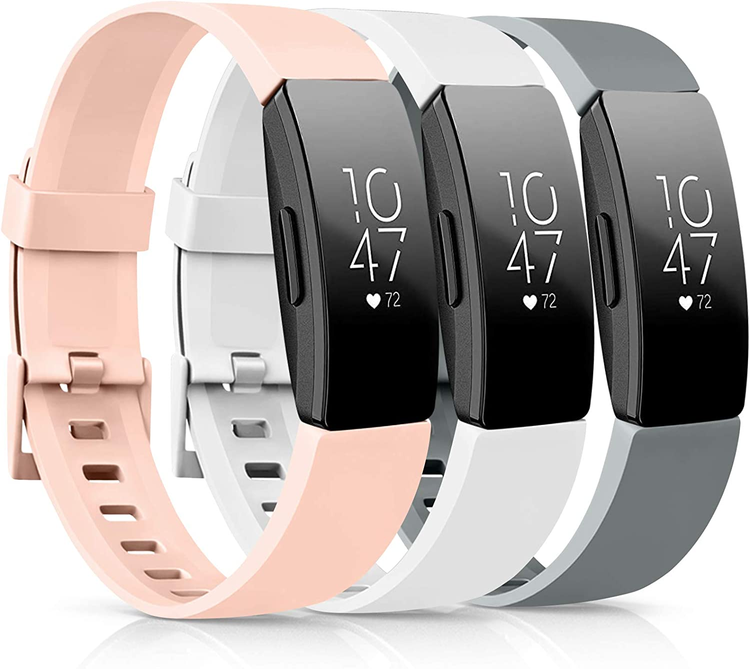 [3 Pack] Soft TPU Bands Compatible with Fitbit Inspire 2 / Fitbit Inspire HR/Fitbit Inspire/Fitbit Ace 2 Wristbands Sports Waterproof Straps for Fitbit Inspire HR (02 Gray/Pink/White, Small)