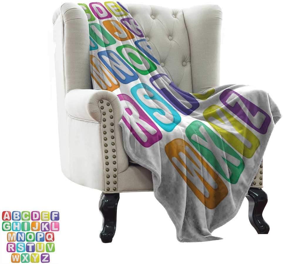 LsWOW Manta con Peso, Letra Z, Elementos de diseño gótico de la Primera Edad Media Alfabeto última Letra Z Monocromo, Negro Blanco cálido e hipoalergénico Lavable Couch/Bed Throws