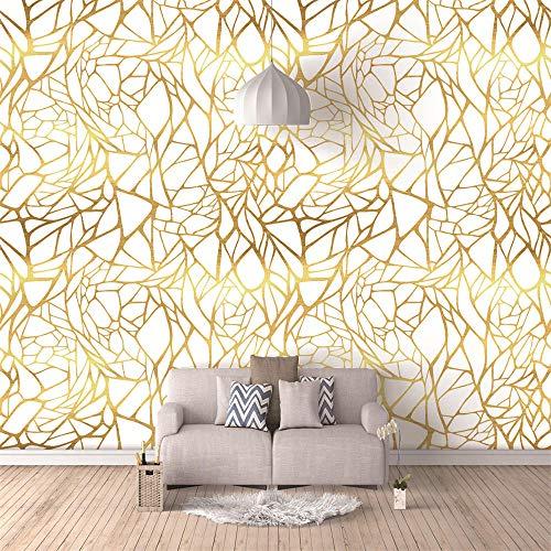 Mural Golden line Geometry 3D Photo Murals for Living Room and Bedding Room 3D Wall Murals Fresco Home Decor-250X175Cm
