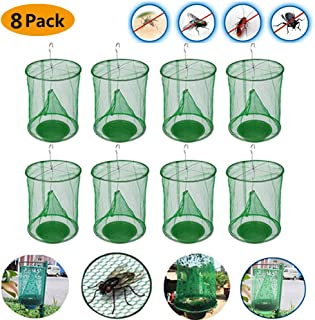 TeeBetter 2020 New Ranch Fly Trap Flycatcher Most Effective Trap Ever Made with Food Bait Flay Catcher for Indoor or Outdoor Family Farms, Park, Restaurants - 8 Pack