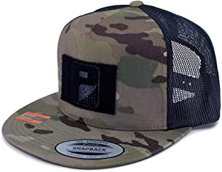 Pull Patch Tactical Hat | Authentic Snapback Multicam Flat Bill Trucker Cap | 2x3 in Hook and Loop Surface to Attach Morale Patches | 5 Panel | Camo and Black | Free US Flag Patch Included