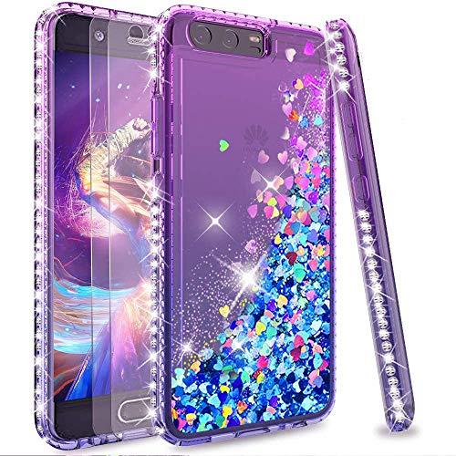 LeYi Funda Huawei P10 Silicona Purpurina Carcasa con [2-Unidades Cristal Vidrio Templado],Transparente Cristal Bumper Telefono Fundas Case Cover para Movil Huawei P10 ZX Verde/Púrpura