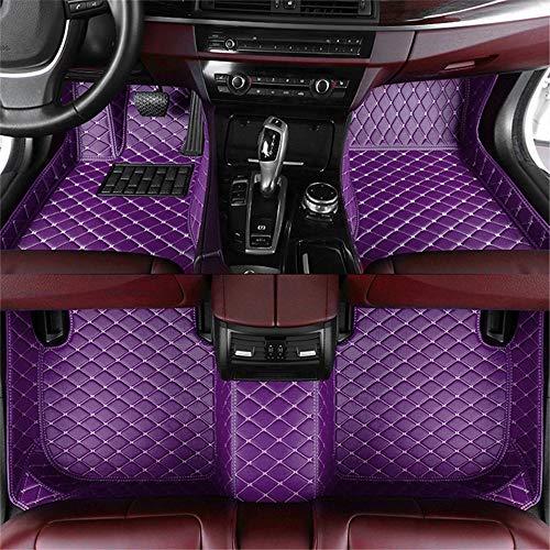 Muchkey Tappetini Abitacolo Auto Personalizzare per 95% dei Modelli di Auto Pelle Morbido Moquette Anti Scivolo Tappeti Impermeabile Tappeto (Colore:Viola)