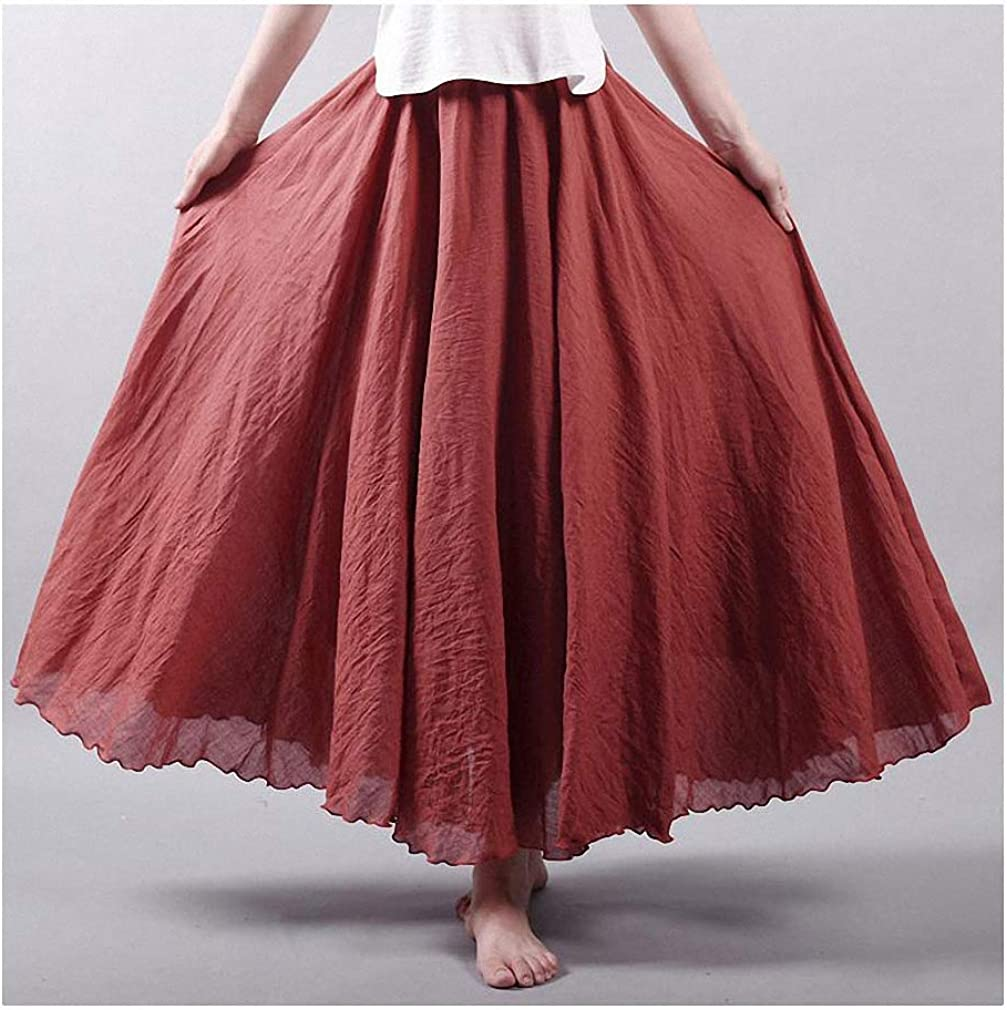 Dawery Women's Elegant High Waist Linen Maxi Skirt Summer Ladies Casual Elastic Waist 2 Layers Skirts