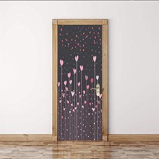 LeiDyWer Sticker Porte Poster De Self-Adhesive Porte Fleurs 3D Autocollants De Porte PVC Papier Peint Auto-Adhésif DIY Déc...