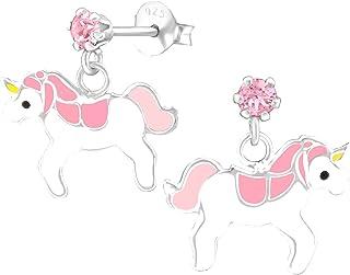 Licorne 15 mm TATA GISELE /© Boucles dOreilles Enfant en Argent 925//000 Rhodi/é et Epoxy Rose//Blanc