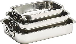 KÖKSKUNGEN - 3 st ugnslådor med handtag i rostfritt stål. 3-delarsset innehållande ugnslåda 2 Liter (25x18 cm), 4 Liter (3...
