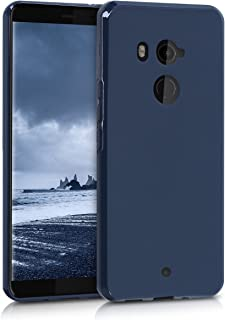 kwmobile TPU Silicone Case for HTC U11+ / U11 Plus - Soft Flexible Shock Absorbent Protective Phone Cover - Dark Blue Matte