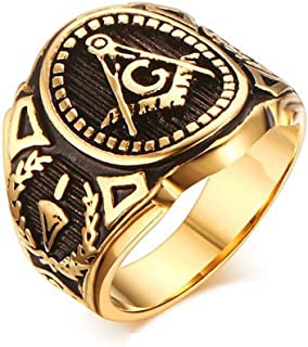 Gold Color Freemason Ring - stainless steel with classic center design, pin stripes, etched tool symbols (Masonic Rings for Sale) Sizes 7-13