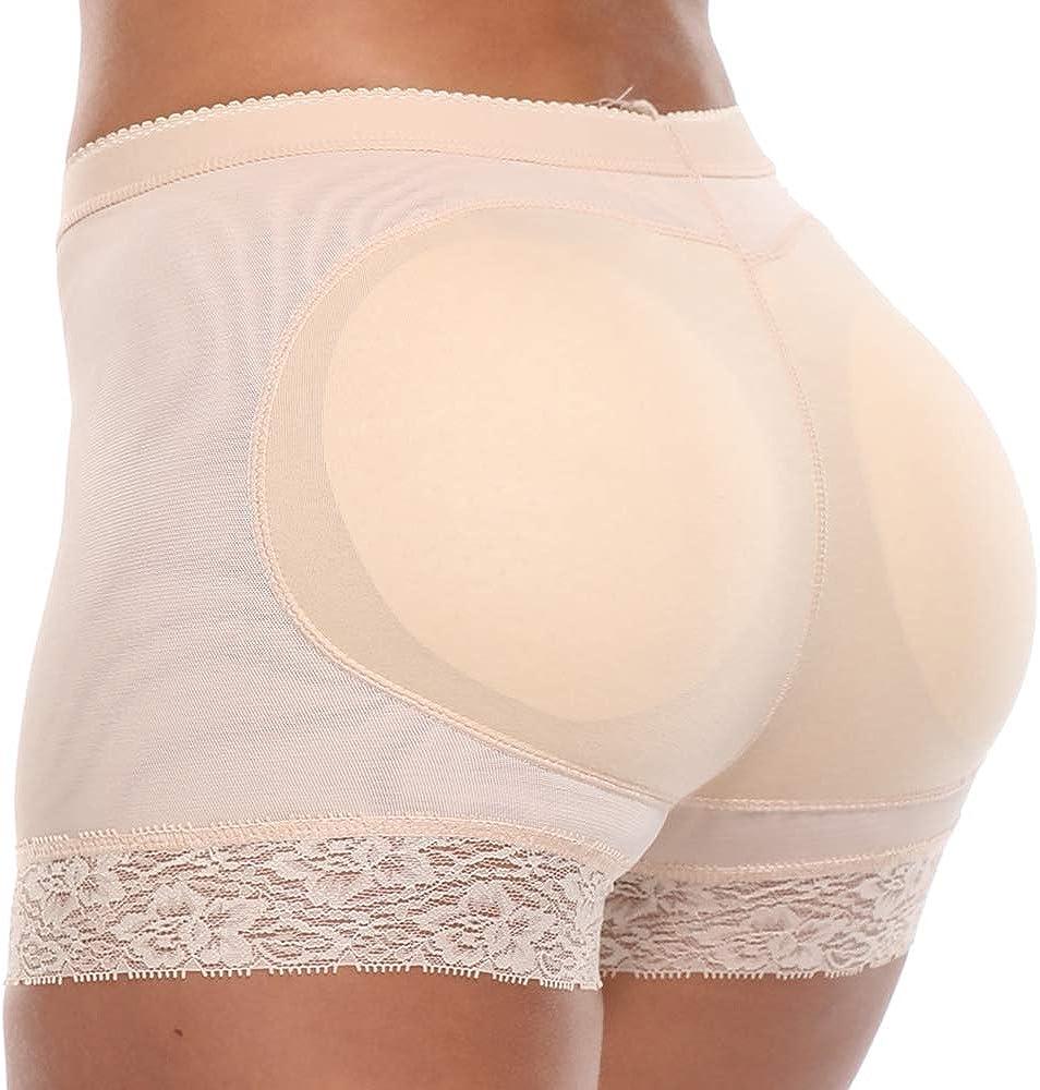 SHAPERIN Culotte Gainante Faux FESS Femme Gaine Panties Sculptantes Butt Lifter Push Up pour Monte Fesse Shorty avec Dentelle sous-V/êtements Respirant /Élastique Noir Beige