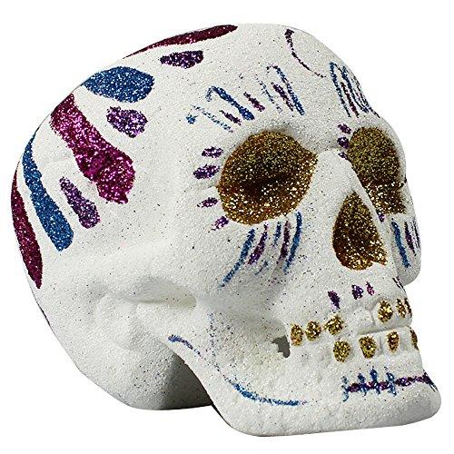 COM-FOUR® decoratieve schedel met glitter - schedeldecoratie voor Día de los Muertos - gekleurde schedel voor Dag van de Doden (01 stuk - glitter schedel)