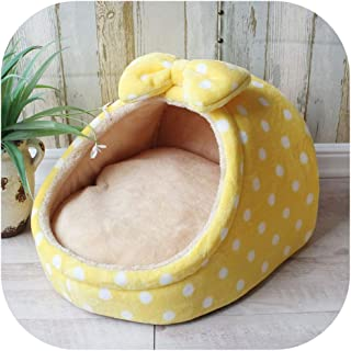 Pet Bed Dog House Kennel Doggy Warm Cushion Basket for Small Medium Dogs Strawberry Cave Cat Tent Puppy Nest Mat