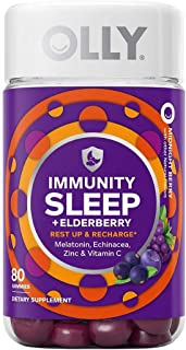 Olly Immunity Sleep Gummy, Melatonin, Elderberry, Echinacea, Zinc and Vitamin C, Sleep Aid (80 Gummies)