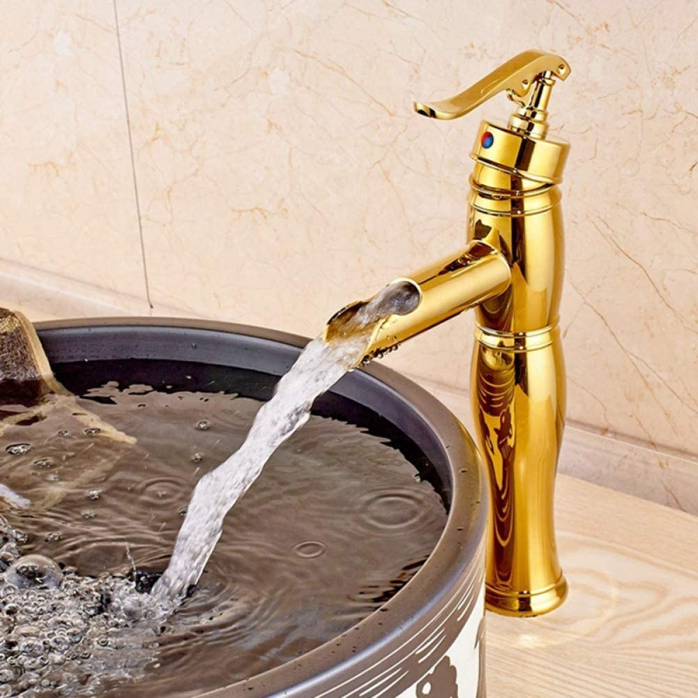 SH-CHEN Water-tap Single Handle SEAL limited product Faucet Brass Golden Sink Waterfa Max 65% OFF