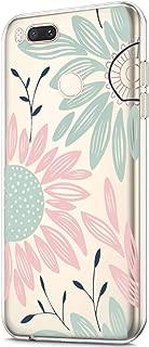 ikasus Case for Xiaomi Mi A1,Clear Art Panited Design Soft Flexible TPU Ultra-Thin Transparent Flexible Soft Rubber Gel TPU Protective Case Cover for Xiaomi Mi A1/5X Case,Pink Green Sun flower