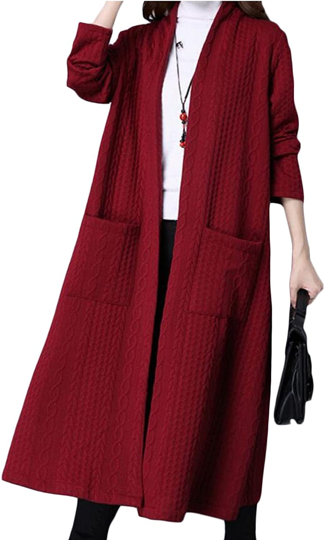 Omniscient Women's Winter Open Front Knit Drap Cardigan Sweater