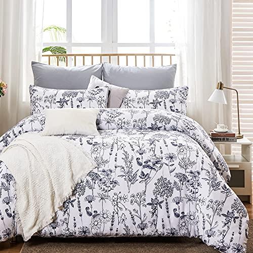WURUIBO White Floral Duvet Cover King Size, Navy Botanical Flowers Duvet Cover Set, All Season Soft...