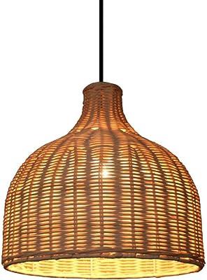 X-L-H Kronleuchter, amerikanische Landhausstil Bambus Kronleuchter Wicker Deckenleuchte dekorative Lampe LED-Licht (größe : 9.8inch)