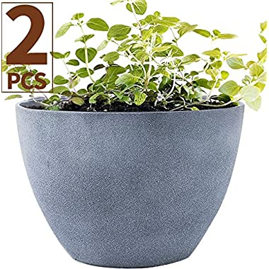 Flower Pot Garden Planters 12  Pack 2 Outdoor Indoor, Unbreakable Resin Plant Containers with Drain Hole, Grey for Fathers day gifts
