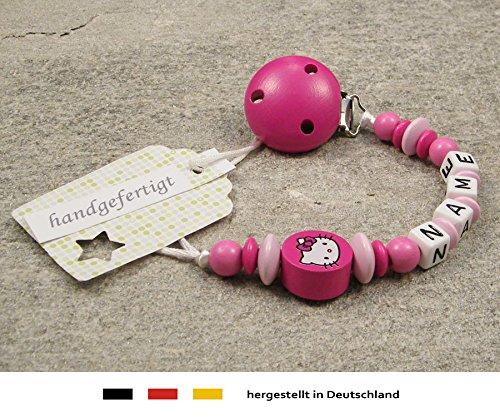 kleinerStorch Baby SCHNULLERKETTE mit Namen - Schnullerhalter mit Wunschnamen - Mädchen Motiv Hello Kitty in pink, rosa