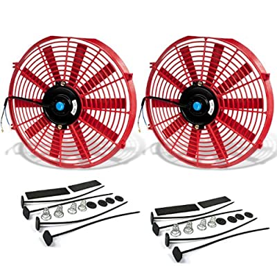 (Pack of 2) 14 Inch High Performance 12V Electric Slim Radiator Cooling Fan w/Mounting Kit - Red