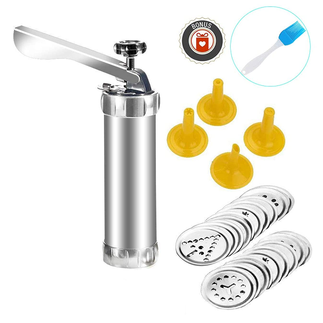 Cookie Press Gun Kit Multifunctional DIY Biscuit Maker Decorating Set for Christmas Birthday Baking- Includes 20 Molds and 4 Nozzles