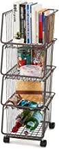 EZOWare 4-Tier Metal Utility Rack Shelves, Stackable Baskets Organizer Bins Rolling Metal Cart for Kitchen Pantry Office Garage