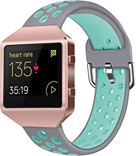 Acrbiutu Bands Compatible with Fitbit Blaze, Soft Silicone Breathable Replacement Sport Accessory Strap Wristband with Met...