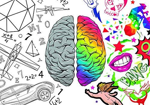 Stickers Murale | Photo Mural Comics Cerveau | De 500 x 300 cm | Sticker Vinyle Adhésif Autocollant | Décoration muraux | Revêtement Mural Art Design Décor Élégant