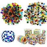 Seasonsky Mosaico de azulejos de vidrio piezas de colores mezclados para manualidades, decoración del hogar, platos, marcos de fotos, macetas, joyería hecha a mano, 0.39 pulgadas, cuadrado