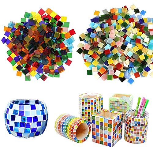 Allazone Mosaique Loisir Creatif Mosaïque de Multicolore Morceaux de Verre de Mosaïque pour La Décoration à La Maison, Création de Bricolage, 10 x 10MM, Carré