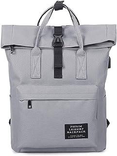 Women External USB Charge Backpack Canvas Male Mochila Escolar Girls Laptop Backpack School Bags Teens gray