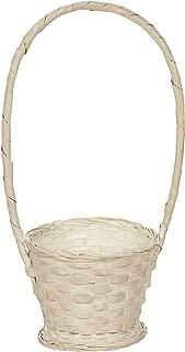 Napco Woven White Wash Basket with Handle