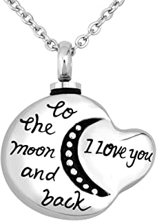EV.YI Jewels Cremation Jewelry for Ashes Keepsake Pendant Moon Urn Necklace
